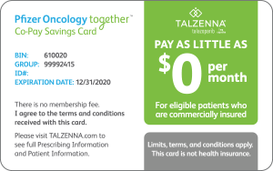 Pfizer Oncology Together Co-Pay Savings Card image