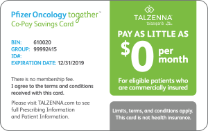 Pfizer Oncology Together co-pay savings card