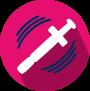 Icon of a syringe shaking