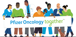 Cartoon of people holding a Pfizer Oncology Together sign