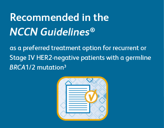Recommended in the NCCN Guidelines® as a preferred treatment option for recurrent or Stage IV HER2-negative patients with a germline BRCA1/2 mutation3