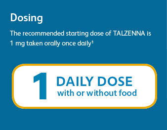 Dosing The recommended starting dose of TALZENNA is 1 mg taken orally once daily1