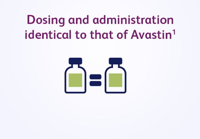 Dosing and administration identical to that of Avastin